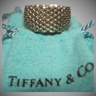retired Tiffany & Co. 925 Sterling Mesh Ring Somerset Sz 7