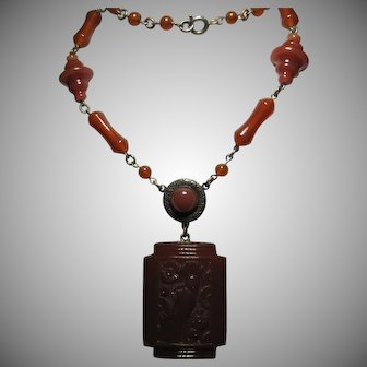 Ornate Czech Czechoslovakia Carnelian Glass Brass Bird of Paradise Necklace