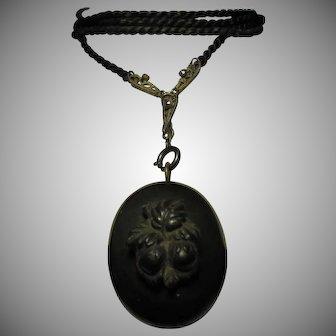 Excellent Antique Victorian Mourning Locket Vulcanite Gutta Percha