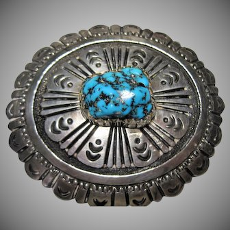 early signed Tommy Singer Sterling Turquoise Buckle T Singer original