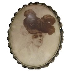 huge Edwardian Nouveau Gibson Girl Photo image Brooch pin Celluloid