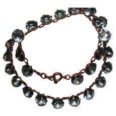Vintage Edwardian open back Aqua faceted Crystal Necklace