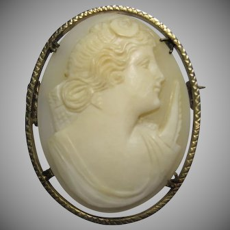 antique carved Shell Cameo DIANA the huntress Goddess gold filled brooch pin