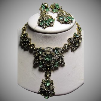 1950 Copr. Hollycraft Fall Colors Necklace & Earrings set