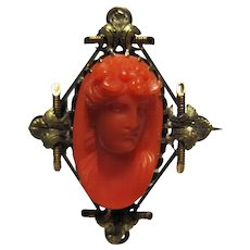 Antique Victorian 14k red/salmon Coral Cameo Brooch pin Rose Yellow