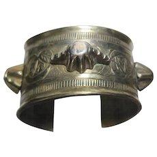 huge early Turkmen Afghan Bedouin Sterling etched spiked Cuff Bracelet Tribal