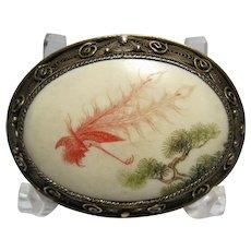 vintage China Export Chinese Asian Silver Filigree engraved enamel Brooch pin Phoenix