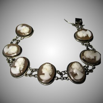 Excellent 1940s vintage carved Shell CAMEO Bracelet 800 silver marked