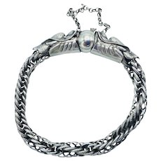 Antique Chinese 900 Silver Dragon Chasing Pearl Wedding Bracelet Qing Dynasty Early 1900s