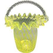 Hand Blown Yellow Art Glass Basket Bowl Mid-Century