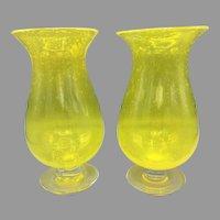 Pair of Mid-Century Hand Blown Yellow Art Glass Vases