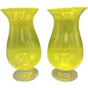 2 Hand Blown Yellow Art Glass Vases Mid-Century