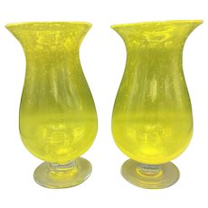2 Hand Blown Yellow Art Glass Vases Mid-Century