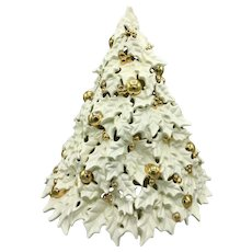 "Mid-Century Atlantic Mold 20"" Ceramic White & Gold Christmas Tree Circa 1960s"