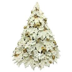 "'Atlantic Mold' 20"" Ceramic White & Gold Christmas Tree Circa 1960s Very Rare"