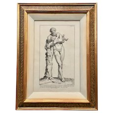 17th century Framed Engraving of Silenus and Bacchus Statue by Claude Randon
