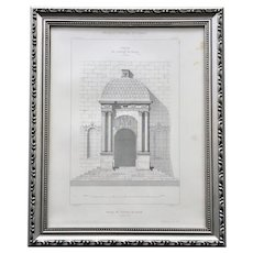19th Century Framed French Architectural Engraving of Palais de Justice de Dijon by Claude Sauvageot