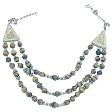 Yemenite Middle Eastern Necklace with Tiger Eye Agate Beads