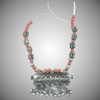 Yemenite Bedouin Silver Necklace with Badihi Amulet Pendant and Coral Beads