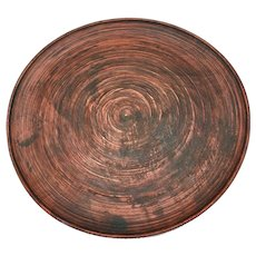 "Japanese Mingei Folk Art Carved Wooden Plate 11.5"" diameter"