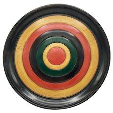 "Traditional Japanese Shikki Lacquerware Large Plate 15"" diameter Red Yellow Green Black"