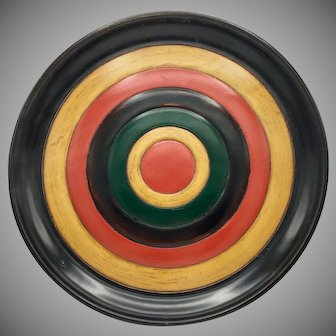 "Traditional Japanese Shikki Lacquerware Large Plate 15"" diameter Red Yellow Green Black"