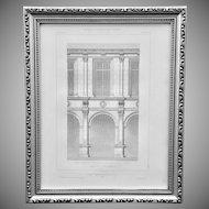 19th Century Claude Sauvageot French Architectural Engraving Palais Archiépiscopal de Sens