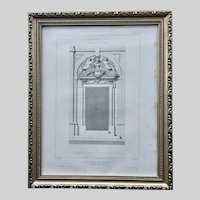 19th Century Claude Sauvageot Framed French Architectural Engraving Hotel de Montescot