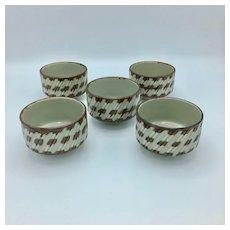 Japanese Vintage Kyoto Pottery Set 5 Chawan Tea Cups Bowls Glazed Ceramic
