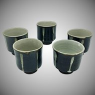 Japanese Vintage Kyoto Pottery Set 5 Chawan Tea Cups Bowls Glazed Ceramic