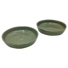 Two Teruo Hara Signed Bowls Plates Japanese Glazed Ceramic