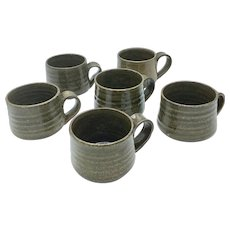 Set of 6 Original Teruo Hara Mugs Tea Bowls Japanese Glazed Ceramic Signed