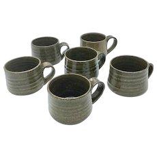 Set of 6 Original Teruo Hara Mugs Tea Bowls Japanese Glazed Ceramic Signed