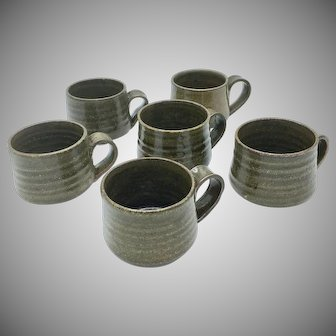 Set of 6 Teruo Hara Signed Mugs Tea Bowls Japanese Glazed Ceramic