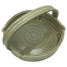 Japanese Vintage Kyoto Pottery Basket Glazed Ceramic Bowl with Handle