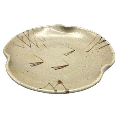 Japanese Vintage Kyoto Pottery Glazed Ceramic Bowl Plate
