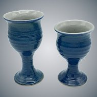 Pair of George Scatchard Goblets Glazed Pottery Stoneware Signed