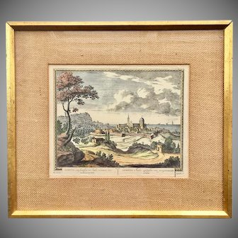 18th Century Pieter Schenk Framed Hand Colored Engraving of Italian Town Loreto