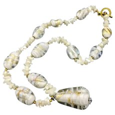 Vintage Venetian Murano Necklace White Glass Gold and Silver Foil Beads