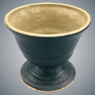 Pig Pen Blue Stoneware Pottery Cup Goblet