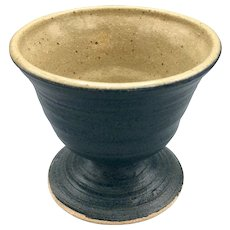 Pig Pen Blue Stoneware Pottery Cup Goblet