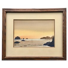 Pacific Coast Watercolor by Charles Mulvey (1918-2001)