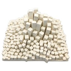 Modernist Abstract White Composite Sculpture Minimalist Art