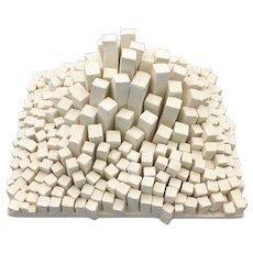 Modernist Abstract White Composite Sculpture Minimalist Art