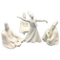 Set of 4 Vintage Dancing Derwish Sufi Figures Turkish Bisque White Ceramic