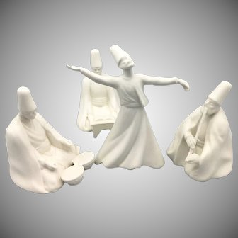 Set of 4 Vintage Dancing Derwish Sufi Figures Turkish White Ceramic