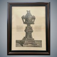 Antique Giovanni Piranesi Framed Engraving of Urn Vase Antiquities
