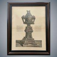 Antique Giovanni Piranesi Framed Engraving of Urn Vase Antiquities