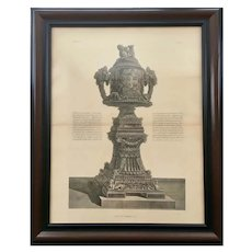 19th Century  Lithographic Print of Giovanni Piranesi Engraving of Urn