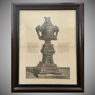 18th Century Giovanni Piranesi Framed Engraving of Antique Urn Vase